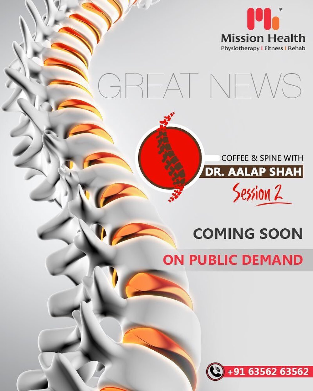 Coffee & Spine with Dr. Alap Shah Session 2 Coming Soon  On Public Demand  For more details, keep reading this space... Call: +916356263562 Visit: www.missionhealth.co.in  #CoffeeAndSpineWithDrAalapShah #DrAalapShah #SuperSpecialitySpineClinic #SpineClinic #BackPain #NeckPain #SlippedDisc #MissionHealth #MissionHealthIndia #AbilityClinic #MovementIsLife