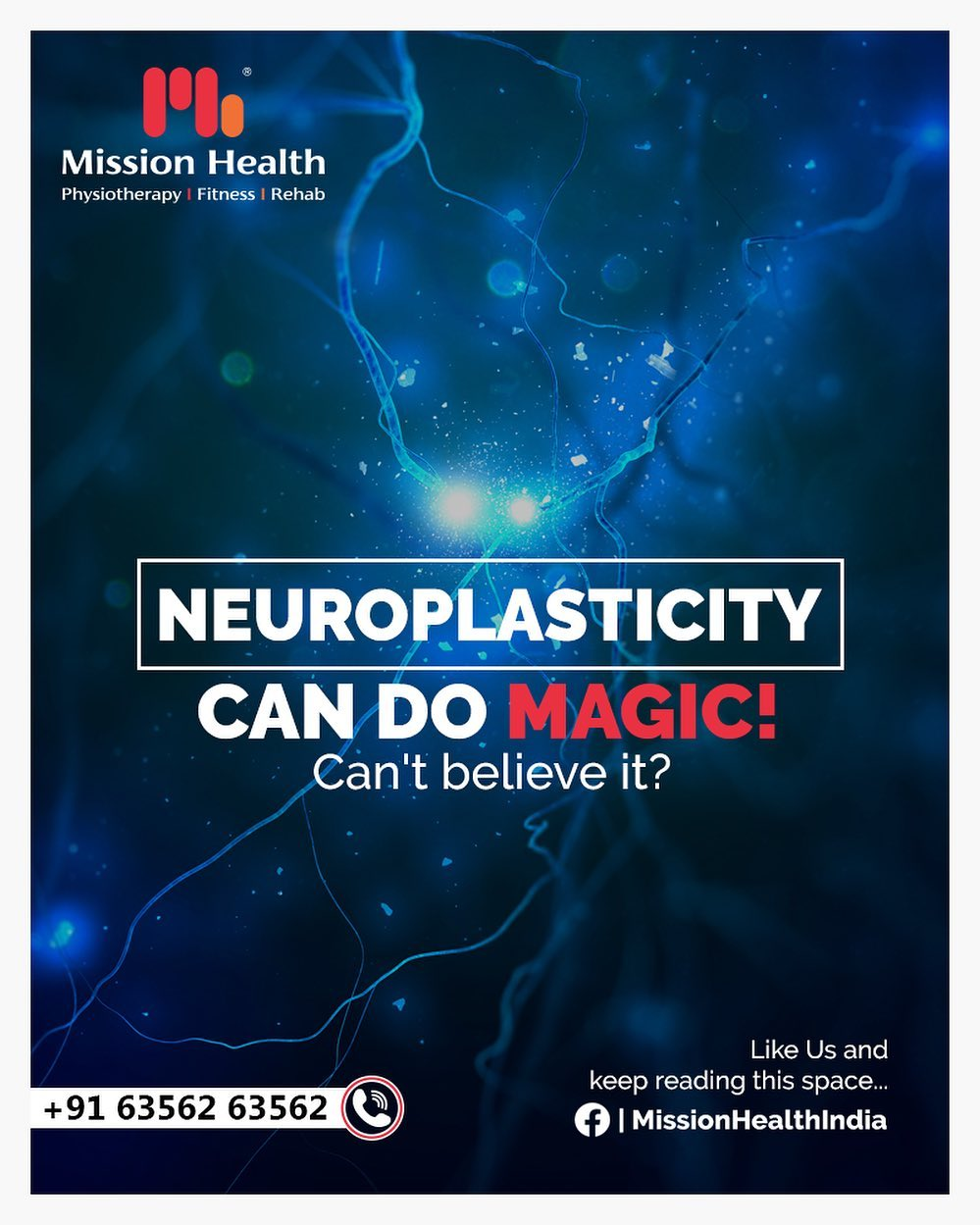 NeuroPlasticity can bring Magical effects to patients suffering from Brain Stroke, Paralysis, Traumatic Brain Injuries, etc.  To know more, like https://www.facebook.com/MissionHealthIndia/  Call +916356263562 www.missionhealth.co.in  #IndiaFightsCorona #Coronavirus #stayathome #lockdownopd #lifeafterstroke #physiotherapy #neurorehab #stroke #neuroplasticity #strokeinjuries #paralysis #paralysisrecovery #strokerecovery #Roboticsneurorehab #roboticsinneurophysiotherapy #MissionHealth #MissionHealthIndia #AbilityClinic #MovementIsLife