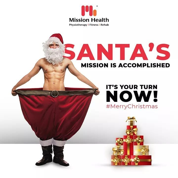 Jingle Bells are ringing fitness on your doors, this festive season.  It is your turn to accomplish your Mission of getting fit and healthy with Mission Health just like Santa has accomplished his.  Merry Christmas!  #Christmas #MerryChristmas #Christmas2020 #Festival #Cheers #Joy #Happiness #MissionHealth #Fitness #PersonalTraining #FatToFit #Transform #GroupFitness #Slimming #MovementIsLife