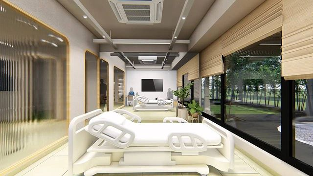 Assesment Lounge, area where patient's clinical examination is done...  Notches above the conventional and orthodox clinical assessment areas which used to give very
