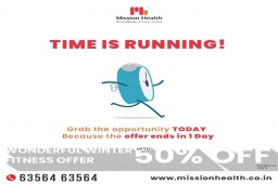 Time and tide waits for none, even if you try to bribe them with a lot of riches!  And time is really running faster than ever; all you have to get enrolled for the wonderful winter fitness offer is ONE DAY.  Resolve to give your body the best possible transformation at Mission Health under the guidance of the best fitness professionals in town. Be a fit-nastic and join the fitness enthusiasts at Mission Health TODAY!  Mission Health Helpline Number: +916356463564 www.missionhealth.co.in  #MissionHealth #Fitness #PersonalTraining #FatToFit #Transform #GroupFitness #Slimming #MovementIsLife